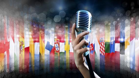 Mikrofon mit Europa Flaggen © fotolia Foto: adam121, mrallen