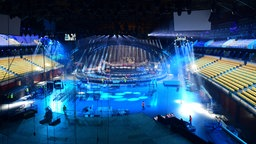 Aufbau der ESC-Bühne in der Altice Arena in Lissabon © Eurovision.tv / M&M Production Management