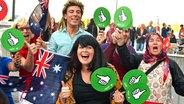 Australische ESC-Fans mit Fahnen © NDR Foto: Patricia Batlle