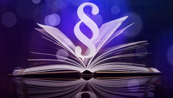 Paragrafenzeichen erhebt sich über ein aufgeschlagenem Buch. © Fotolia.com Foto: Sebastian Duda