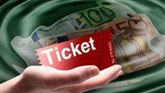 Hand mit Ticket vor Euroscheinen im Wasser (Montage)  Fotograf: Visual Concepts , fuxart