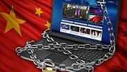 Computer-Tastatur mit Ketten umwickelt, dahinter weht die chinesische Flagge (Bildmontage) © Fotolia Foto: fimg, moneyrender