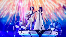 "Naviband performen ""Story Of My Life"" auf der ESC-Bühne in Kiew. © Eurovision.tv Fotograf: Andes Putting"
