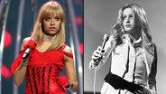 Zum Verwechseln ähnlich: Sasha Strunin von der Band The Jet Set (links) und das Model Twiggy (rechts). © picture alliance / kpa