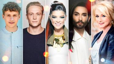 Collage der Künstler Tim Bendzko, Matthias Schweighöfer, Ruslana, Conchita und Nicole (von links) © NDR/Sony Music/Christoph Köstlin, Pantaleon/David Daub, Ruslana Press Office, conchitawurst.com/Jansenberg, NDR/Eric Thoma Foto: Christoph Köstlin, David Daub, Jansenberger Fotografie, Eric Thoma